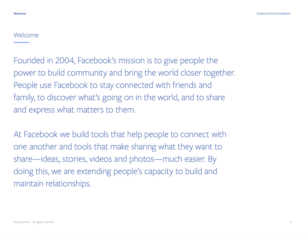 Facebook brand story.